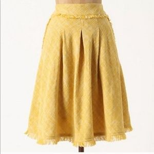 Anthropologie Maeve Yellow Buttered Tweed Skirt 0